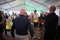Sep Vanmarcke (BEL/LottoNL-Jumbo) being stopped many times by the VIPs for photos on his way to the pre-race presentation podium<br /> <br /> Post-Tour Criterium Mechelen (Belgium) 2016