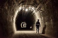 """LA LINEA - COLOMBIA, 29-08-2020: Túnel alterno o de escape paralelo al principal. El túnel principal """"La Línea"""" tiene una longitud de  8,65 km y hace parte de El Túnel de La Línea el proyecto de infraestructura vial más importnate de Colombia que está es fase final de construcción conectará de manera eficiente los departamentos colombianos de Quindío y Tolima. El plan además consta de 24 puentes y 20 túneles de diferentes longitudes. / Alternate or escape tunnel parallel to the main. The main tunnel """"La Línea"""" has a length of 8.65 km and is part of El Túnel de La Línea, the most important road infrastructure project in Colombia, which is in the final phase of construction and will efficiently connect the Colombian departments of Quindío and Tolima. The plan also consists of 24 bridges and 20 tunnels of different lengths. Photo: VizzorImage / Gabriel Aponte / Staff"""