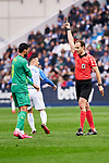 Willian Jose of Real Sociedad sees the yellow card