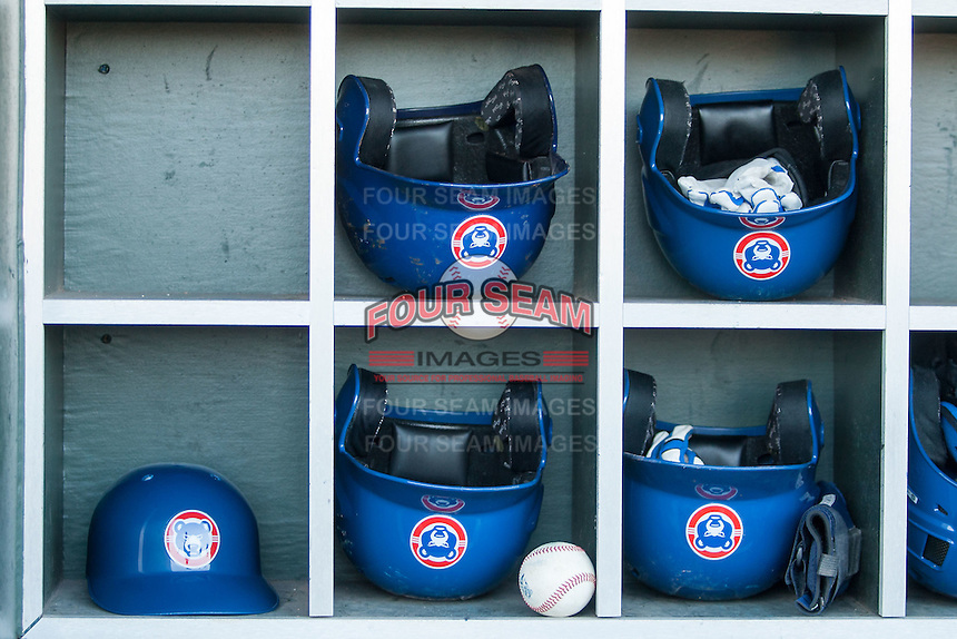 South Bend Cubs helmet rack on May 18, 2016 at Dow Diamond in Midland, Michigan. (Andrew Woolley/Four Seam Images)