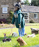 Scarecrow Festival at Kettlewell in Yorkshire 2013<br /> <br /> Dog walker<br /> <br /> Scarecrows are made by local community and places in and around their front gardens.  Competition is fierce but it's all to raise money  for the local church  and other local projects to benefit the whole community.<br /> <br /> <br /> <br /> Picture by Gavin Rodgers/ Pixel 8000 <br /> <br /> 07917221968
