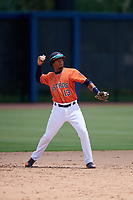 GCL Astros third baseman Yeuris Ramirez (13) throws to first base during a game against the GCL Nationals on August 6, 2018 at FITTEAM Ballpark of the Palm Beaches in West Palm Beach, Florida.  GCL Astros defeated GCL Nationals 3-0.  (Mike Janes/Four Seam Images)