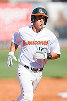 Nathan Melendres #10 of the Miami Hurricanes rounds the bases after hitting a home run against the Florida State Seminoles at the 2010 ACC Baseball Tournament at NewBridge Bank Park May 26, 2010, in Greensboro, North Carolina.  The Hurricanes defeated the Seminoles 9-3.  Photo by Brian Westerholt / Four Seam Images