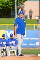 Las Vegas 51s pitching coach Frank Viola (16) in the bullpen before the game against the Salt Lake Bees in Pacific Coast League action at Smith's Ballpark on June 25, 2015 in Salt Lake City, Utah. Las Vegas defeated Salt Lake 20-8.  (Stephen Smith/Four Seam Images)