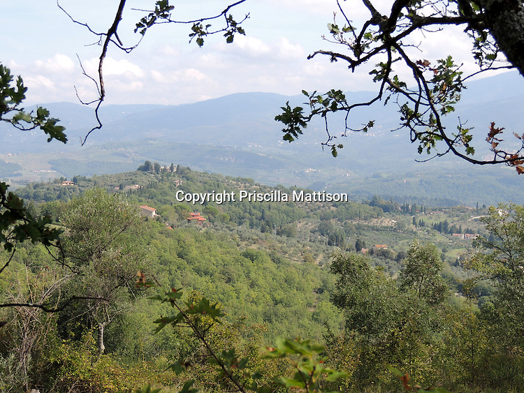 Val d'Arno, Italy - October 5, 2012:  Distant Tuscan hills appear blue.