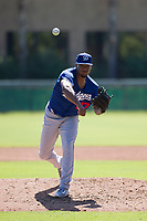 Los Angeles Dodgers pitcher Jeremiah Muhammad (47) follows through on his delivery during an Instructional League game against the Chicago White Sox on September 30, 2017 at Camelback Ranch in Glendale, Arizona. (Zachary Lucy/Four Seam Images)