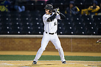 Jonathan Pryor (11) of the Wake Forest Demon Deacons at bat against the Kent State Golden Flashes in game two of a double-header at David F. Couch Ballpark on March 4, 2017 in Winston-Salem, North Carolina.  The Demon Deacons defeated the Golden Flashes 5-0.  (Brian Westerholt/Four Seam Images)