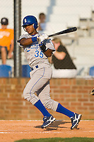 Victor Soto #35 of the Burlington Royals follows through on his swing versus the Johnson City Cardinals at Howard Johnson Stadium June 27, 2009 in Johnson City, Tennessee. (Photo by Brian Westerholt / Four Seam Images)