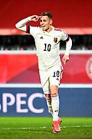24th March 2021; Leuven, Belgium;  Thorgan Hazard of Belgium celebrates after scoring during the World Cup Qatar 2022 Qualifiers Match between Belgium and Wales on March 24, 2021 in Leuven, Belgium