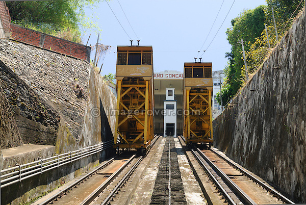 Brazil, Bahia, Salvador: The Plano Inclinado Goncalves (Goncalves Funicular Railway) provides a convenient way to travel between the Comercio neighbourhood and Pelourinho. --- No releases available.