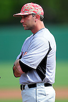 University of Hartford Hawks Head Coach Justin Blood  prior to a game versus the Boston College Eagles at Pellagrini Diamond at Shea Field on May 9, 2015 in Chestnut Hill, Massachusetts.  (Ken Babbitt/Four Seam Images)