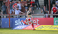 Ash Huner of Fleetwood Town celebrates after he scores his team's first goal during the Sky Bet League 1 match between Fleetwood Town and Peterborough at Highbury Stadium, Fleetwood, England on 19 April 2019. Photo by Stefan Willoughby.