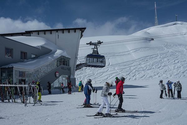 Top of Galzigbahn, start of Valluga,St Anton Ski Area, Austria,