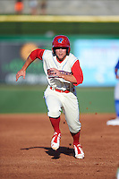 Clearwater Threshers second baseman Scott Kingery (31) running the bases during a game against the Dunedin Blue Jays on April 8, 2016 at Bright House Field in Clearwater, Florida.  Dunedin defeated Clearwater 8-3.  (Mike Janes/Four Seam Images)