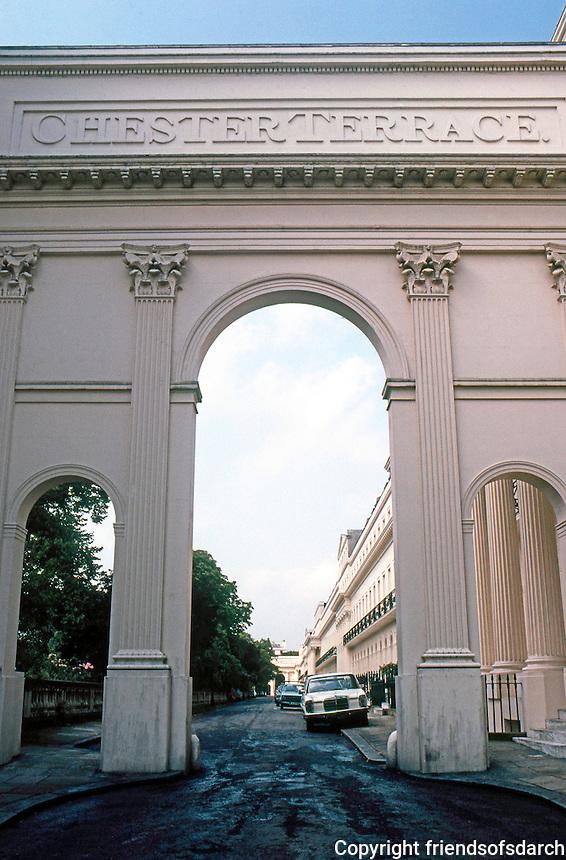 London: Chester Terrace--Entrance. John Nash.  Photo '79.