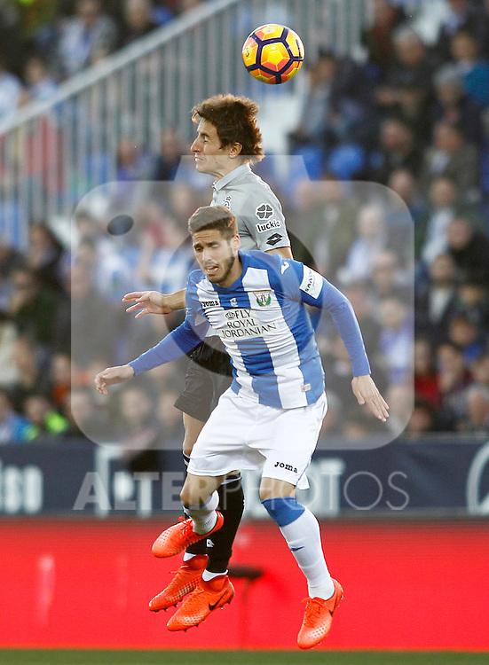 CD Leganes' Ruben Perez (f) and Deportivo de la Coruna's Pedro Mosquera during La Liga match. February 25,2017. (ALTERPHOTOS/Acero)