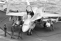 """- F 18 """"Hornet"""" fighter-bomber aircraft on Roosevelt aircraft carrier (April 1989)<br /> <br /> - aereo cacciabombardiere F 18 """"Hornet"""" a bordo della portaerei Roosevelt  (aprile 1989)"""