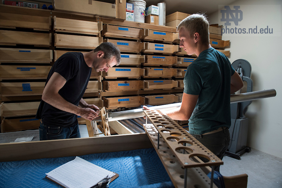 January 12, 2016; McLeod and Boothby both developed a fascination for pipe organs as musicians with strong mechanical aptitudes. (Photo by Barbara Johnston/University of Notre Dame)