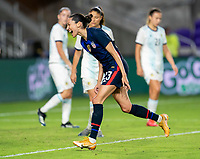 ORLANDO, FL - FEBRUARY 24: Christen Press #23 of the USWNT celebrates during a game between Argentina and USWNT at Exploria Stadium on February 24, 2021 in Orlando, Florida.