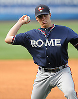 Infielder Brandon Drury (2) of the Rome Braves, an Atlanta Braves affiliate, before a game against the Greenville Drive on May 7, 2012, at Fluor Field at the West End in Greenville, South Carolina. Greenville won, 11-5. (Tom Priddy/Four Seam Images)
