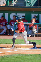 Jose Marquez (13) of the Idaho Falls Chukars at bat against the Ogden Raptors at Lindquist Field on August 9, 2019 in Ogden, Utah. The Raptors defeated the Chukars 8-3. (Stephen Smith/Four Seam Images)