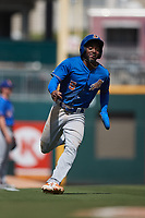 Durham Bulls pinch-runner Vidal Brujan (5) hustles towards home plate against the Charlotte Knights at Truist Field on August 28, 2021 in Charlotte, North Carolina. (Brian Westerholt/Four Seam Images)