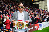 Boxer Nathan Decastro on the pitch at half time at Lincoln City's Sincil Bank Stadium<br /> <br /> Photographer Chris Vaughan/CameraSport<br /> <br /> The EFL Sky Bet League One - Lincoln City v Sunderland - Saturday 5th October 2019 - Sincil Bank - Lincoln<br /> <br /> World Copyright © 2019 CameraSport. All rights reserved. 43 Linden Ave. Countesthorpe. Leicester. England. LE8 5PG - Tel: +44 (0) 116 277 4147 - admin@camerasport.com - www.camerasport.com