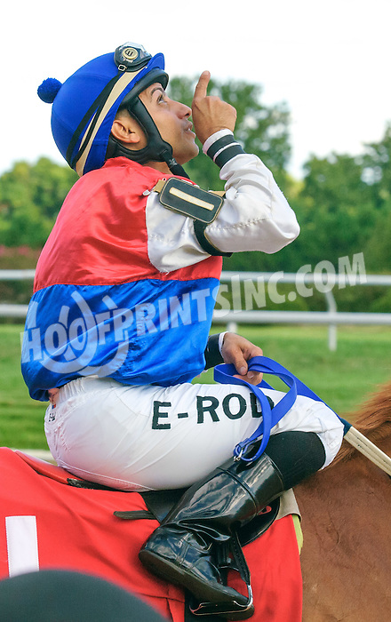 Erick Rodriguez aboard My Enigma after winning at Delaware Park on 9/3/16
