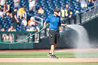 CWS grounds crew before Game 3 of the NCAA College World Series Finals on June 26, 2019 at TD Ameritrade Park in Omaha, Nebraska. Vanderbilt defeated Michigan 8-2 to win the National Championship. (Andrew Woolley/Four Seam Images)