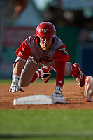 Williamsport Crosscutters Rudy Rott (26) slides into third base during a NY-Penn League game against the Batavia Muckdogs on August 25, 2019 at Dwyer Stadium in Batavia, New York.  Williamsport defeated Batavia 10-3.  (Mike Janes/Four Seam Images)
