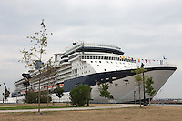 Celebrity Cruises cruise ship Celebrity Summit anchored in the Cape Liberty Cruise Port awaiting its next departure
