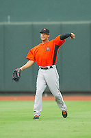 Frederick Keys right fielder Brenden Webb (17) throws the ball back to the infield during the Carolina League game against the Winston-Salem Dash at BB&T Ballpark on July 21, 2013 in Winston-Salem, North Carolina.  The Dash defeated the Keys 3-2.  (Brian Westerholt/Four Seam Images)