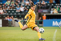 TACOMA, WA - JULY 31: Michelle Betos #1 of Racing Louisville FC strikes the ball during a game between Racing Louisville FC and OL Reign at Cheney Stadium on July 31, 2021 in Tacoma, Washington.