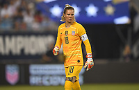 CHARLOTTE, NC - OCTOBER 03: Ashlyn Harris #18 of the United States looks downfield during their game versus Korea Republic at Bank of American Stadium, on October 03, 2019 in Charlotte, NC.
