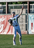 20 June 2021: Vermont Lake Monsters outfielder Sky Rahill, from Burlington, VT, in right field during a game against the Westfield Starfires at Centennial Field in Burlington, Vermont. Rahill went 1 for 2 with a walk and a two-run homer in the 8th inning, accounting for all the home team scoring, as the Lake Monsters fell to the Starfires 10-2 at Centennial Field, in Burlington, Vermont. Mandatory Credit: Ed Wolfstein Photo *** RAW (NEF) Image File Available ***