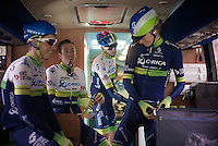 a relaxed atmosphere on the Orica-GreenEDGE at the start (3 days after Mathew Hayman's monumental win in Roubaix) <br /> <br /> 56th De Brabantse Pijl - La Flèche Brabançonne (1.HC)