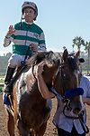 DEL MAR, CA  JULY 27: #3 Cistron, ridden by Victor Espinoza returns to the connections after winning the Bing Crosby Stakes (Grade l) a Breeders' Cup Win and You're In Sprint Division, on July 27, 2019 at Del Mar Thoroughbred Club in Del Mar, CA. (Photo by Casey Phillips/Eclipse Sportswire/CSM)