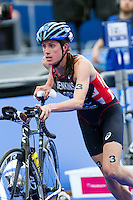 31 MAY 2014 - LONDON, GBR - Helen Jenkins (GBR (WAL) of Great Britain and Wales exits transition for the start of the bike during the elite women's 2014 ITU World Triathlon Series round in Hyde Park, London, Great Britain (PHOTO COPYRIGHT © 2014 NIGEL FARROW, ALL RIGHTS RESERVED)