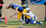 BROOKINGS, SD - MAY 8: Mark Gronowski #11 of the South Dakota State Jackrabbits is tackled while crossing the goal line by Kedrick Whitehead #1 of the Delaware Fightin Blue Henson May 8, 2021 in Brookings, South Dakota. (Photo by Dave Eggen/Inertia)
