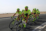 Farnese Vini-Selle Italia team warms up before the 2nd Stage of the 2012 Tour of Qatar a team time trial at Lusail Circuit, Doha, Qatar, 6th February 2012 (Photo Eoin Clarke/Newsfile)