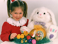 Easter. Girl with Easter eggs, Easter Rabbit and decoration. Editorial-use-only. 1993  *** Local Caption *** 00259727