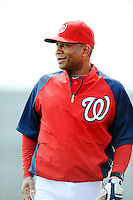 25 February 2012: Washington Nationals' instructor Tony Beasley chats with his team during the first full squad Spring Training workout at the Carl Barger Baseball Complex in Viera, Florida. Mandatory Credit: Ed Wolfstein Photo