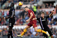 Omar Colley of Sampdoria , Edin Dzeko of AS Roma , Joachim Andersen of Sampdoria compete for the ball during the Serie A 2018/2019 football match between AS Roma and UC Sampdoria at stadio Olimpico, Roma, November, 11, 2018 <br />  Foto Andrea Staccioli / Insidefoto