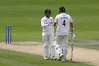 Sixteen year old, Sussex batsman, Danial Ibrahim chats with Thirty Eight year old, Sussex batsman, Mitch Claydon at the end of an over during Sussex CCC vs Glamorgan CCC, LV Insurance County Championship Group 3 Cricket at The 1st Central County Ground on 5th July 2021