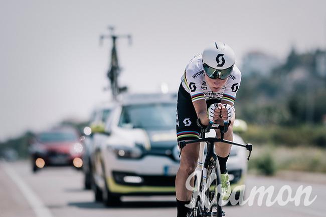 2017 TT World Champion Annemiek van Vleuten (NED/Mitchelton-Scott) training with her costumized Scott Plasma TT bike<br /> <br /> Mitchelton-Scott Women's team training camp in Oliva (Alicante) /Spain, may 2018<br /> ©kramon