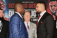 Daniel Dubois (L), Frank Warren and Joe Joyce during a Press Conference at the BT Tower on 7th February 2020