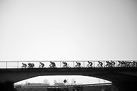 peloton over bridge<br /> <br /> 3 Days of West-Flanders<br /> stage 2: Nieuwpoort - Ichtegem 186km