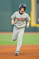 Casey Frawley #4 of the Kinston Indians rounds the bases after hitting a home run against the Winston-Salem Dash at BB&T Ballpark on June 4, 2011 in Winston-Salem, North Carolina.   Photo by Brian Westerholt / Four Seam Images