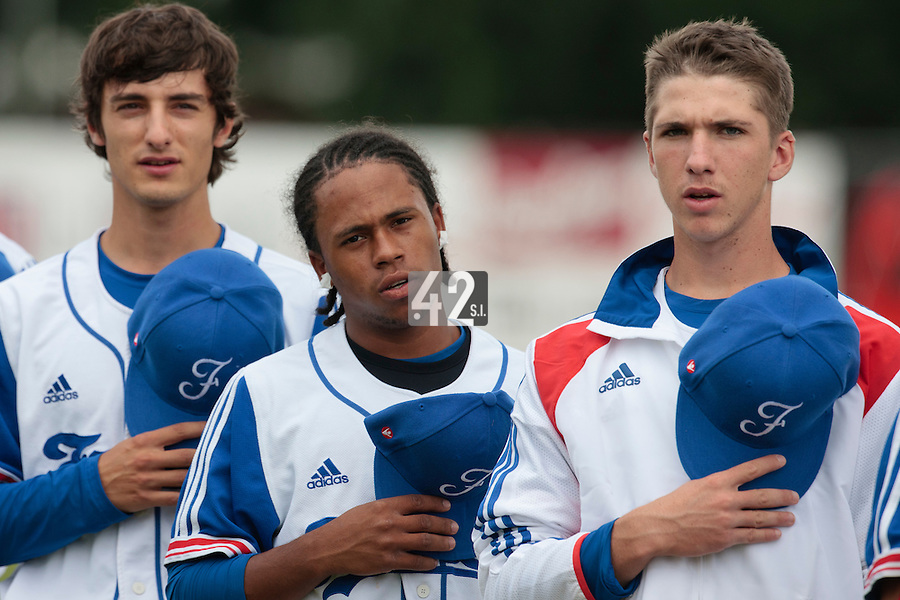 19 August 2010: Eloi Secleppe, Edison Garcia Martinez, Steven Vesque, are seen during the national anthem prior to France 7-6 win over Slovakia, at the 2010 European Championship, under 21, in Brno, Czech Republic.