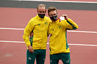 Jaryd Clifford (w/guides) wins the SILVER medal in the mens marathon<br /> Olympic Stadium / Athletics<br /> 2020 Tokyo Paralympic Games<br /> Paralympics Australia / Day 12<br /> Tokyo Japan :  Sunday 5 Sept  2021<br /> © Sport the library / Jeff Crow / PA